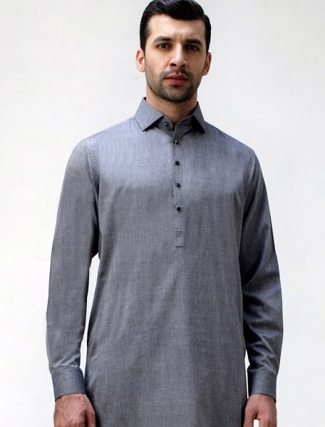 STEEL GRAY SIGNATURE SERIES KAMEEZ SHALWAR