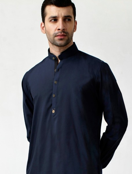 NAVY BLUE METAL LOGO EMBALISHED KAMEEZ SHALWAR