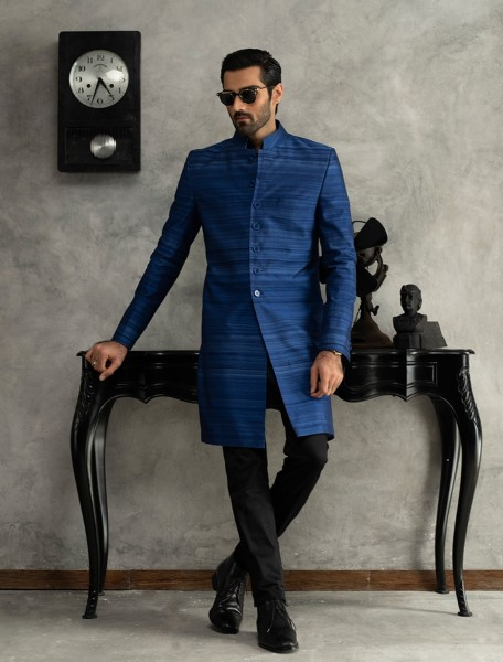 ROYAL BLUE SHORT LENGTH RAW SILK SHERWANI