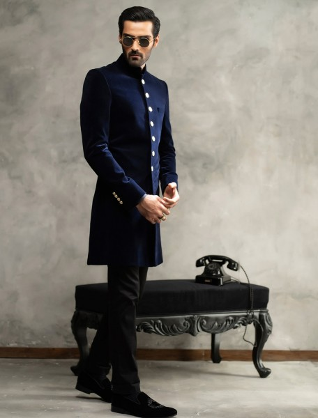 MATT NAVY BLUE SHORT LENGTH VELVET SHERWANI
