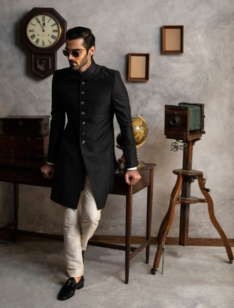 BLACK RAW SILK SHORT LENGTH SHERWANI