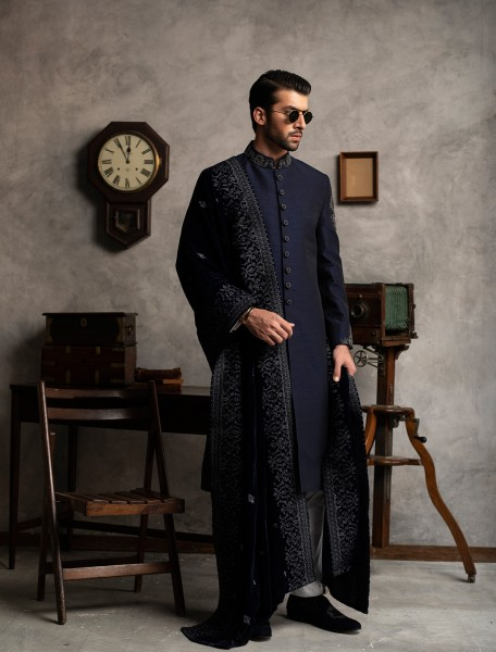 NAVY BLUE RAWSILK HAND EMBROIDERED SHERWANI