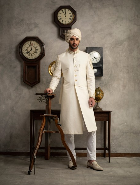 OFF WHITE RAW SILK SHERWANI