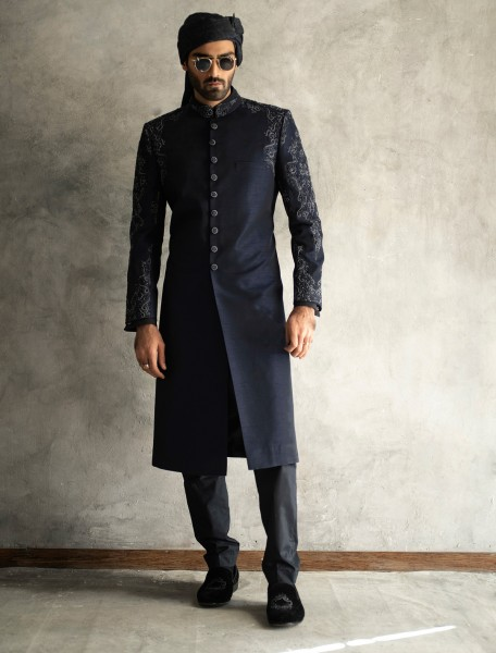 NAVY BLUE RAWSILK SHERWANI