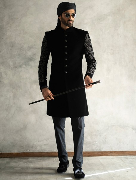BLACK VELVET SHORT LENGTH SHERWANI