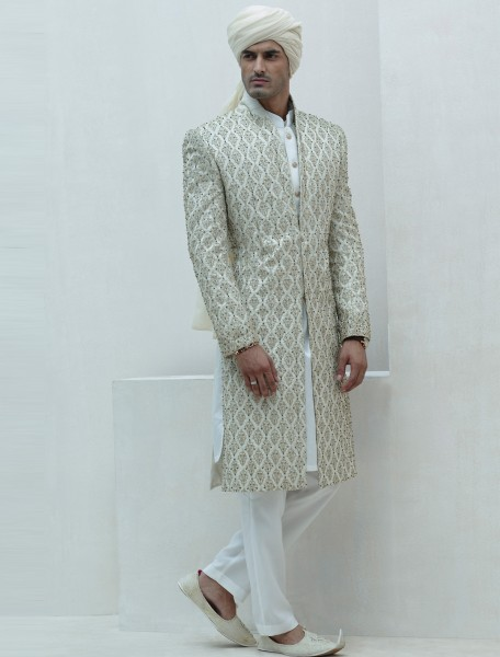 LIMITED EDITION OFFWHITE RAWSILK SHERWANI WITH DINNER JACKET LAPELS