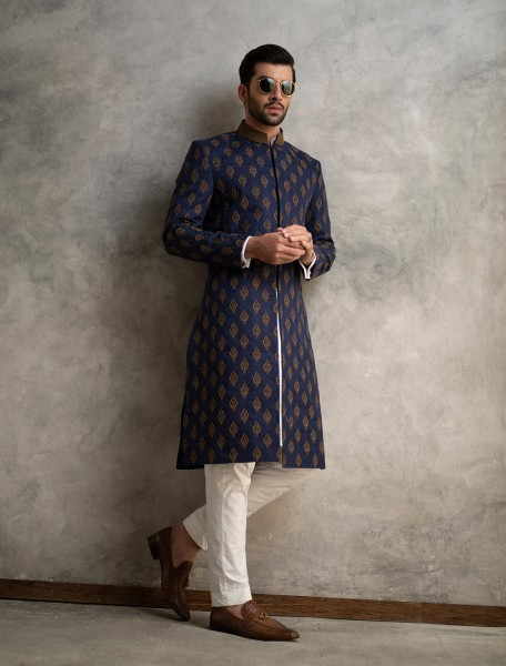 NAVY BLUE KARANDI JAMAWAR FULLY HAND EMBROIDERED SHERWANI