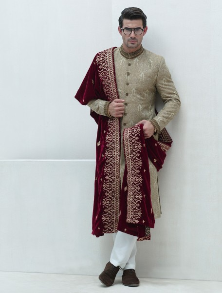 BEIGE JACQUARD EMBROIDERED SHERWANI