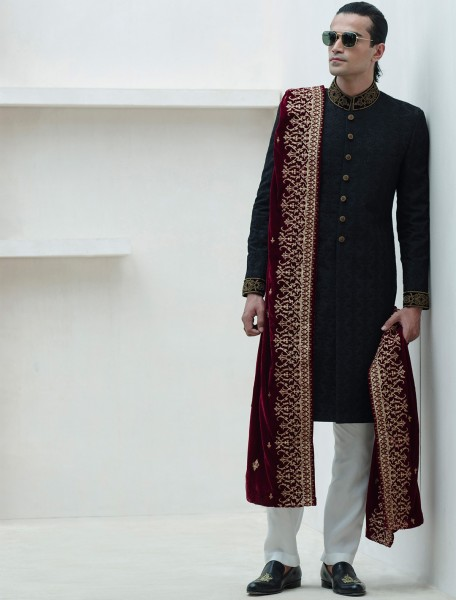 BLACK RAWSILK EMBROIDERD FABRIC SHERWANI
