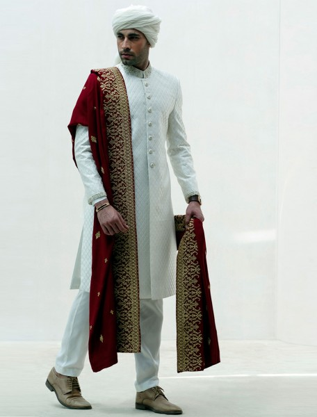OFFWHITE RAWSILK EMBROIDERED FABRIC SHERWANI