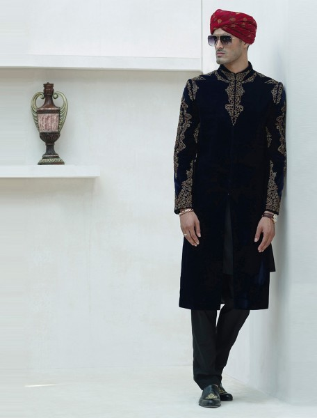 DARK NAVYBLUE VELVET HAND EMBROIDERED SHERWANI