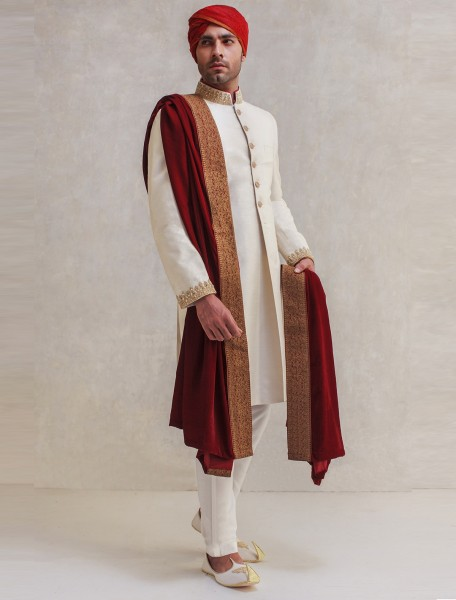 OFF WHITE RAW SILK EMBROIDERED SHERWANI