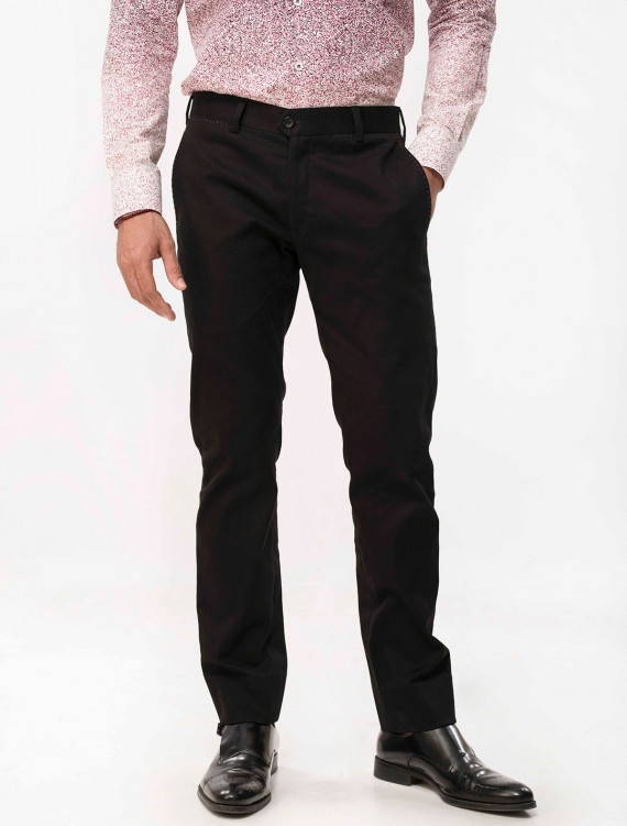 SOLID BLACK COTTON CHINOS