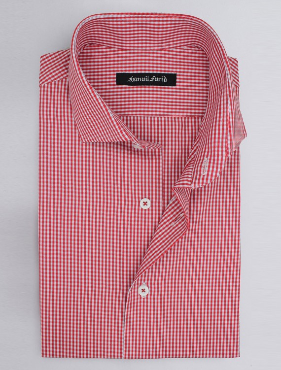 WHITE AND RED GINGHAM CHECK SHIRT