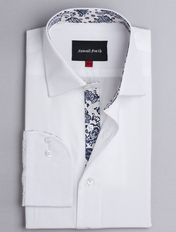 SOLID WHITE - FLORAL DETAILED SHIRT