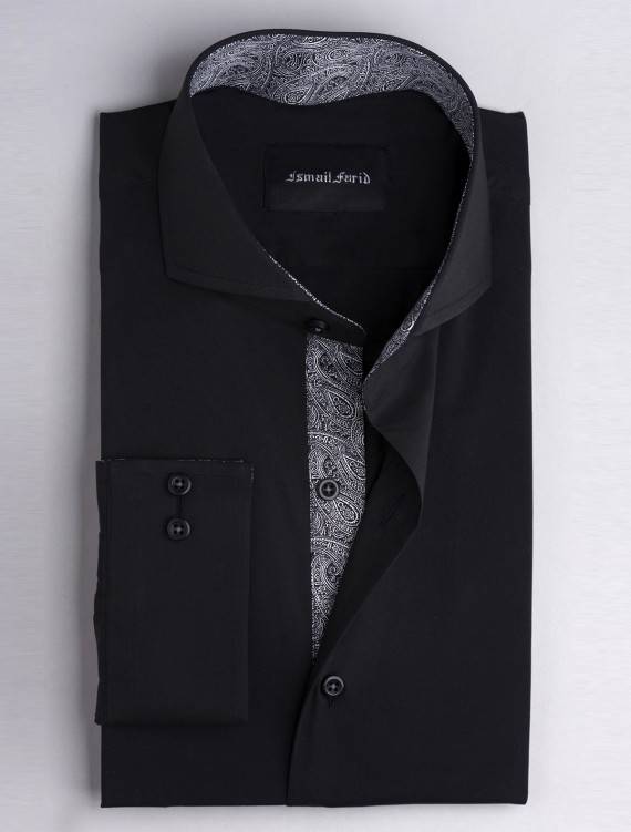 SOLID BLACK- PAISLEY DEATILED SHIRT