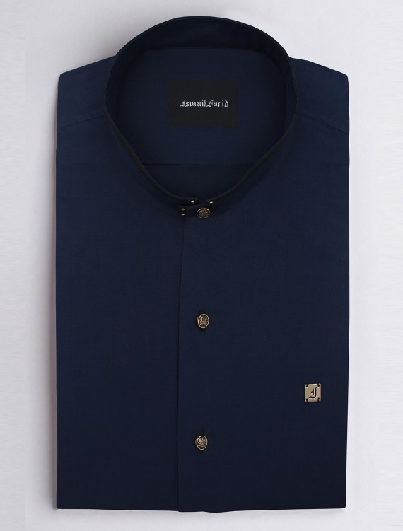 NAVY MANDARIN COLLAR SHIRT