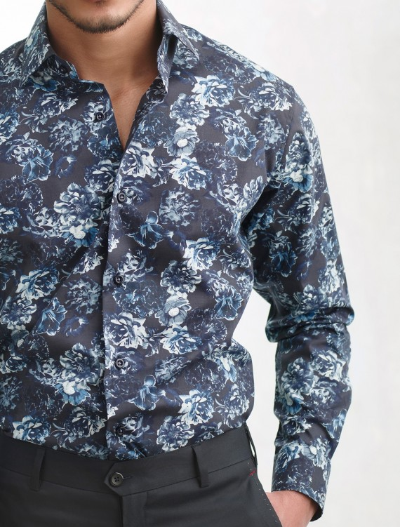 DARK NAVY FLORAL SHIRT