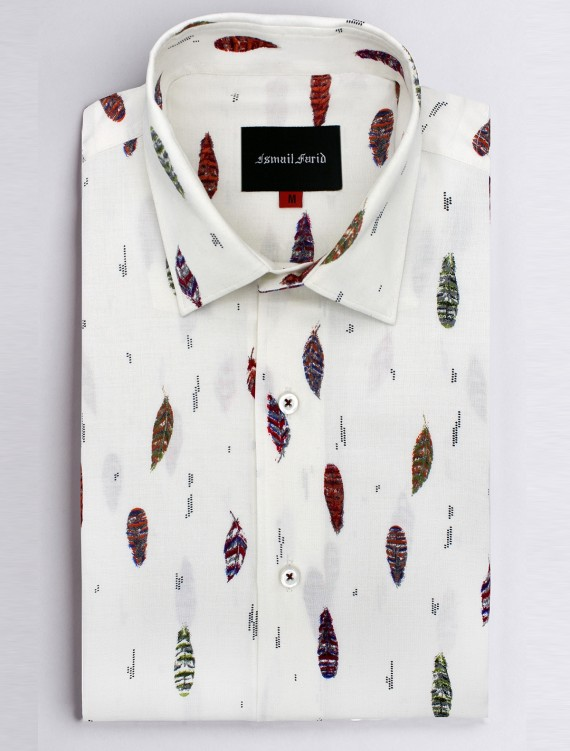 OFF WHITE FEATHER PRINT SHIRT