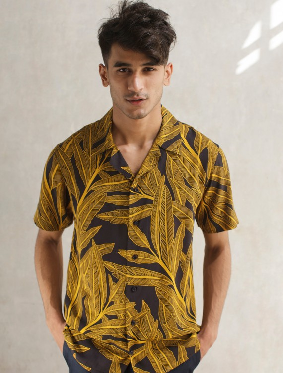 NAVY BANANA LEAF SHIRT