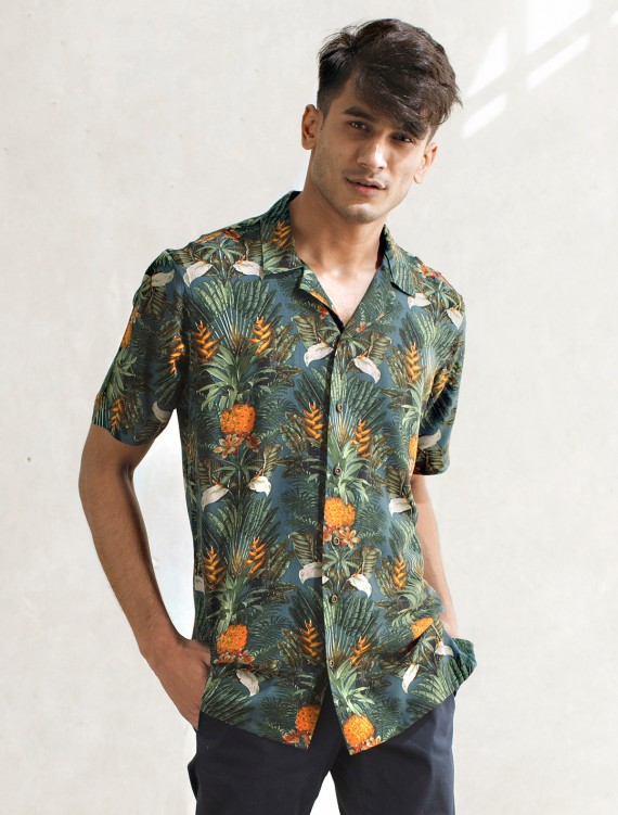 CLASSIC TROPICAL LEAF FLORAL SHIRT