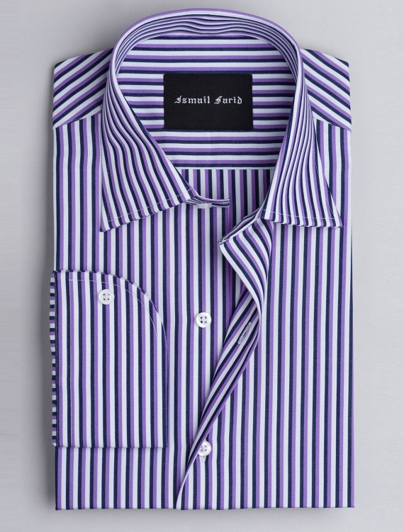 PURPLE  & BLACK MULTI-STRIPED SHIRT