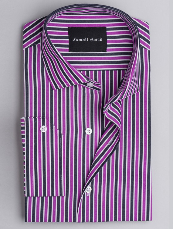 PURPLE & GREY MULI-STRIPED SHIRT