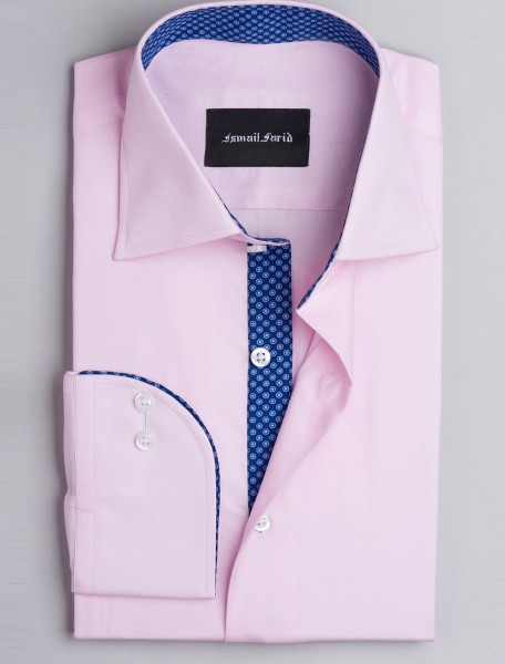 PINK TWILL CLASSIC COLLAR- FLORAL DETAILED SHIRT